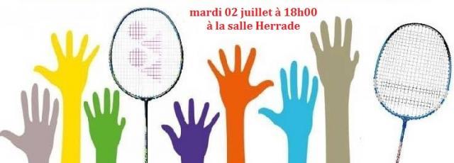 Assemblée générale et tournoi interne le mardi 02 juillet à 18h00 à la salle Herrade